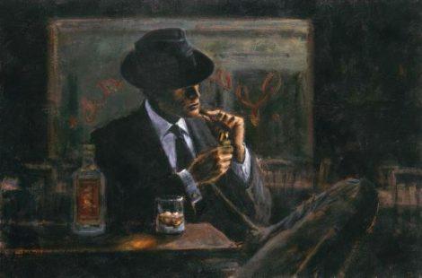 Мужчина в шляпе, виски и сигары